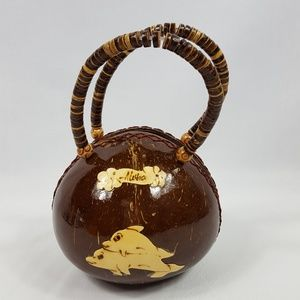 Handbags - Hawaii Coconut Shell Round Purse Aloha Dolphins